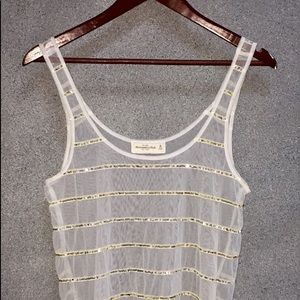 Abercrombie & Fitch gold sequin mesh tank